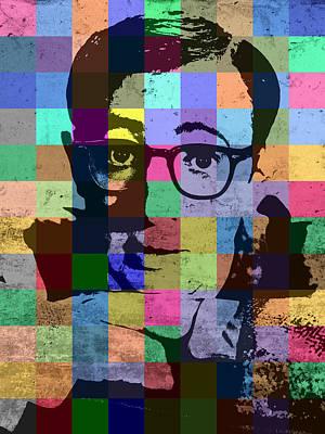 Woody Allen Director Hollywood Pop Art Patchwork Portrait Pops Of Color Art Print by Design Turnpike