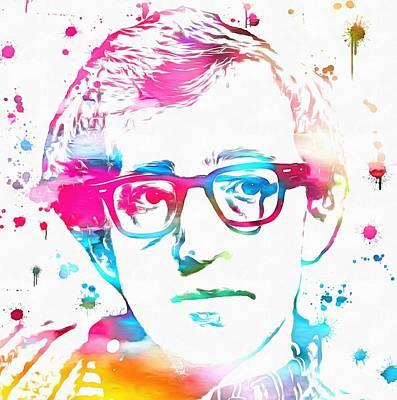 Woody Allen Paint Splatter Art Print by Dan Sproul