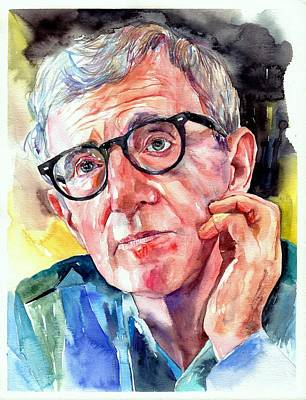 Ginger Painting - Woody Allen Portrait Painting by Suzann's Art