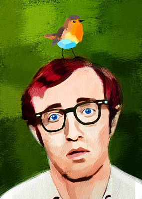 Woody Allen Digital Art - Woody Allen's Portrait With A Bird by Maciej Mackiewicz