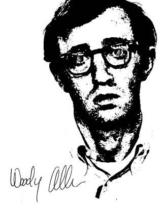 Woody Allen Drawing - Woody Black N White  by Enki Art