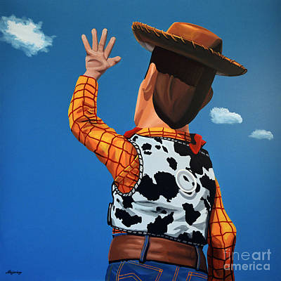 Cute Cartoon Painting - Woody Of Toy Story by Paul Meijering