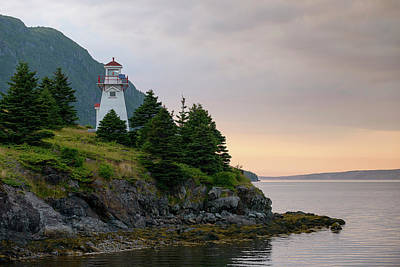 Woody Point Lighthouse - Bonne Bay Newfoundland At Sunset Art Print