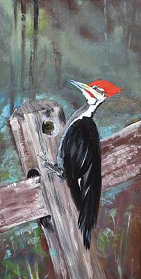 Painting - Woody - The Pileated Woodpecker by Jan Dappen