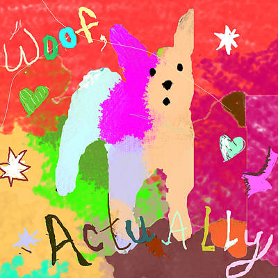 Dog Christmas Card Digital Art - Woof, Actually by Holly McGee
