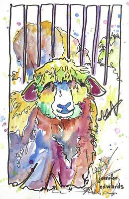 Sheep Drawing - Wool Ewe Be Mine? by Jennifer Edwards