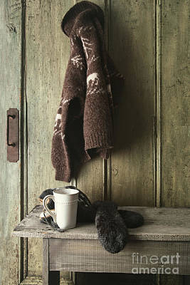 Photograph - Wool Sweater With Coffee Mug On Gray Bench by Sandra Cunningham
