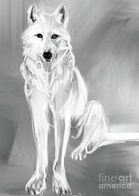 Painting - Wolf White by Go Van Kampen