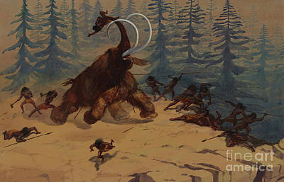 Hunting Party Painting - Woolly Mammoth by Ernest Henry Griset
