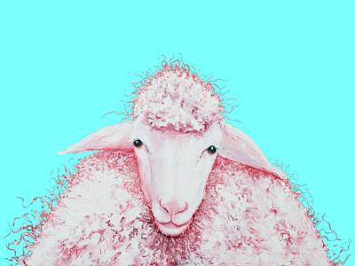 Farm Animals Painting - Woolly Sheep On Turquoise by Jan Matson