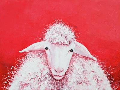 Woolly Sheep Painting, Gabriel Original by Jan Matson