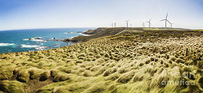 Woolnorth Wind Farm And Ocean Landscape Tasmania Art Print