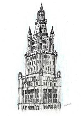 Drawing - Woolworth Building Ny by Paul Meinerth