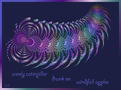 Digital Art - Wooly Caterpillar Haiga by Judi Suni Hall