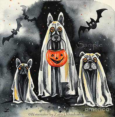 Painting - Woooff Or Treat. Willow, Harlie And Hank by Zaira Dzhaubaeva