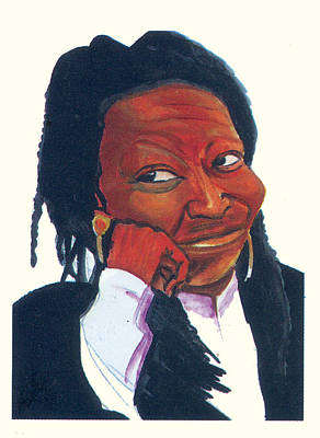 Art Print featuring the painting Woopy Goldberg by Emmanuel Baliyanga