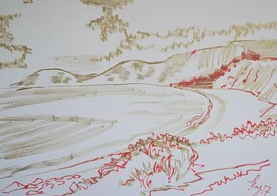 Drawing - Worbarrow Bay by Mike Jory