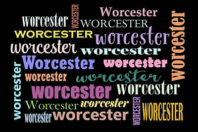 Digital Art - Worcester Massachusetts On Black Background by Peggy Collins
