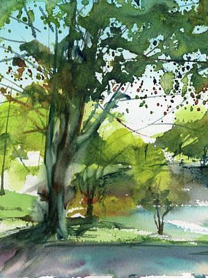Worcester Sketchbook, Elm Park During May Vertical Original by Sumiyo Toribe