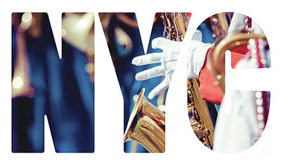 Sax Girl Photograph - Word Music Red Parade by Mariusz Prusaczyk