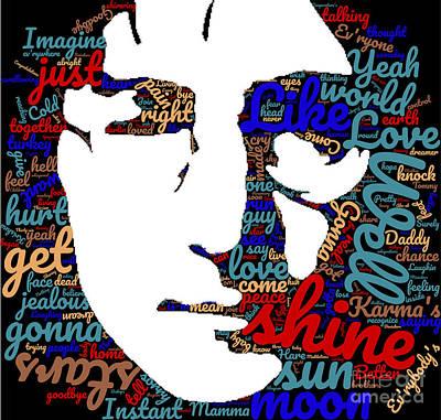 John Lennon Digital Art - Wordcloud Of Famous Songs Of John Lennon by Tin Tran
