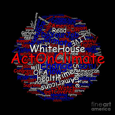 Wordcloud Of Tweets Of President Barack Obama Art Print by Tin Tran