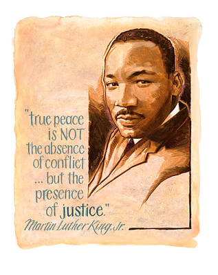 Words Of Peace  Man Of Peace  Martin Luther King Jr Art Print by Shawn Shea
