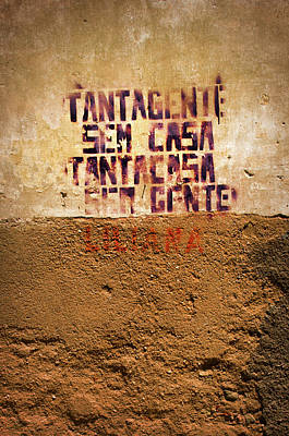 Photograph - Words Painted On Yellow Wall by Carlos Caetano