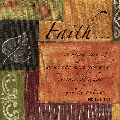 Red Art Painting - Words To Live By Faith by Debbie DeWitt