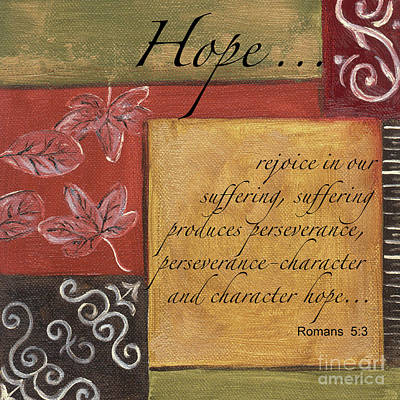 Red Art Painting - Words To Live By Hope by Debbie DeWitt