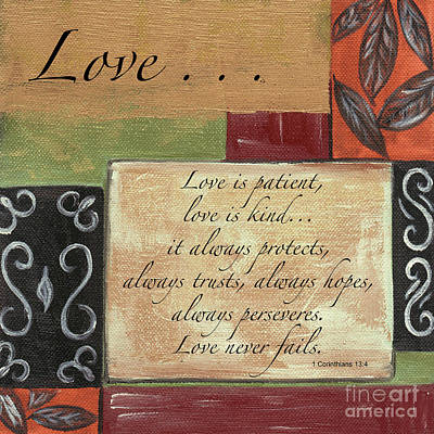 Jesus Art Painting - Words To Live By Love by Debbie DeWitt