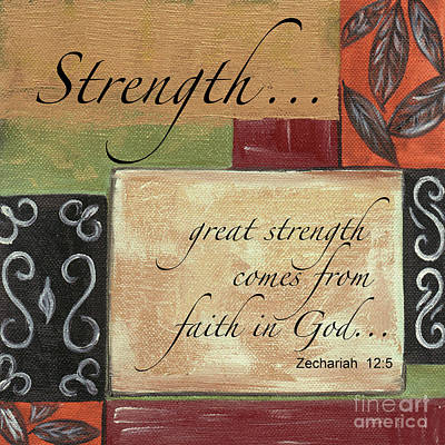 Red Art Painting - Words To Live By Strength by Debbie DeWitt