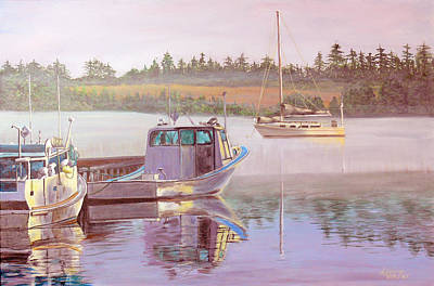 Fishing Bouys Painting - Work And Play by Lorraine Vatcher