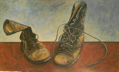 Painting - Work Boots by John Pendarvis