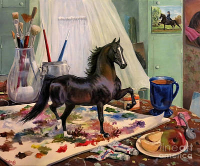 Morgan Horse Painting - Work In Progress Seven by Jeanne Newton Schoborg