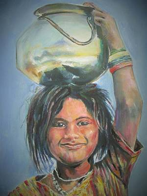 Bangles Painting - Work Is Worship by Khalid Saeed