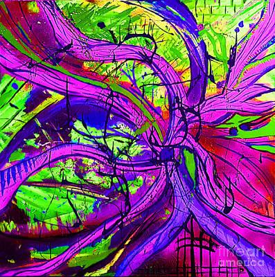 Skiing Action Painting - Work Life Balance - Purple by Ryan Djakovic