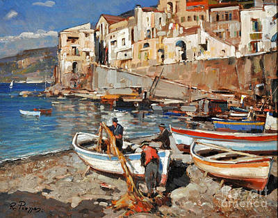 Painting - Work Never Ends For Amalfi Fishermen by Rosario Piazza