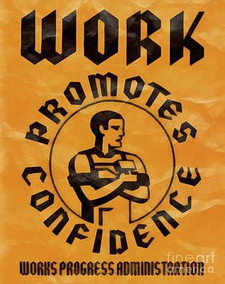 Work Promotes Confidence Vintage Poster Art Print by Edward Fielding