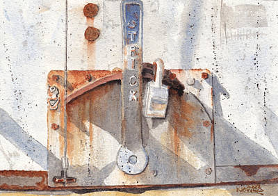 Painting - Work Trailer Lock Number One by Ken Powers