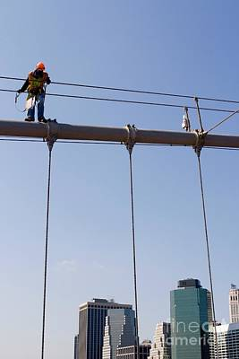 Photograph - Worker On Top Of Brooklyn Bridge In New York City by Patricia Hofmeester