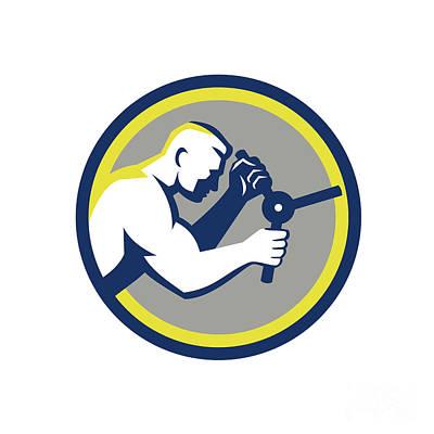 Thief Digital Art - Worker Opening Safe Handle Circle Retro by Aloysius Patrimonio