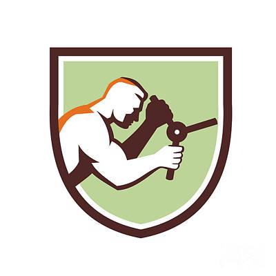 Thief Digital Art - Worker Opening Safe Handle Crest Retro by Aloysius Patrimonio