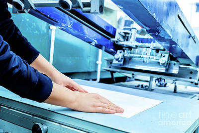 Serigraph Photograph - Worker Setting Print Screening Metal Machine by Michal Bednarek
