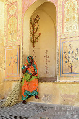 Photograph - Workers In Amer Fort 01 by Werner Padarin