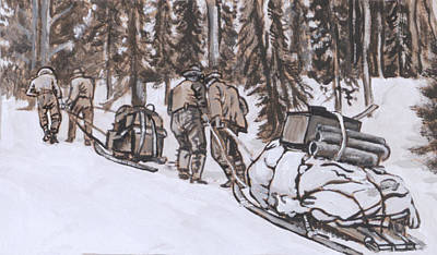 Painting - Workers Pulling Loaded Sleds by Dawn Senior-Trask