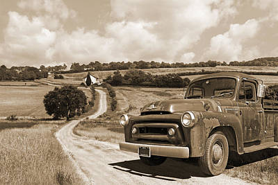 Photograph - Down On The Fram - International Harvester In Sepia by Gill Billington