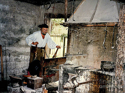 Photograph - Working Blacksmith At Farmer's Museum - Cooperstown Ny by Merton Allen