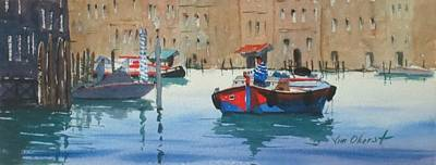 Oberst Painting - Working Boat, Venice 2 by Jim Oberst