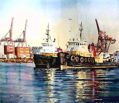 Painting - Working Boats -seattle  by June Conte  Pryor